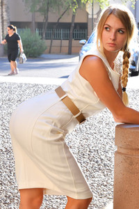 Angelina pretty blonde babe flashing with her hot ass in public